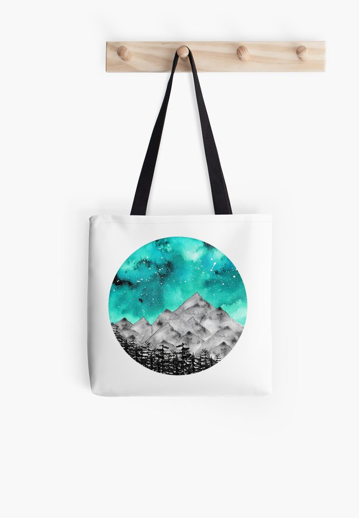Inspired by nature and the vast wilderness of Canada. Watercolor and digital. • Also buy this artwork on bags, apparel, stickers, and morNature inspired watercolor sky and mountains @redbubble #art #design #space #sky #mountains #galaxy #stars #redbubble #nature #nature addict #watercolor #sphere #circle #bag #totebag