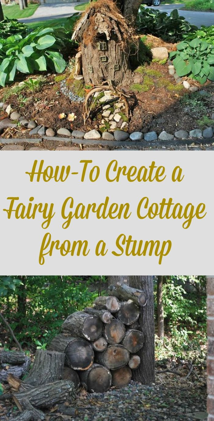 Create a fairy garden cottage from a tree stump