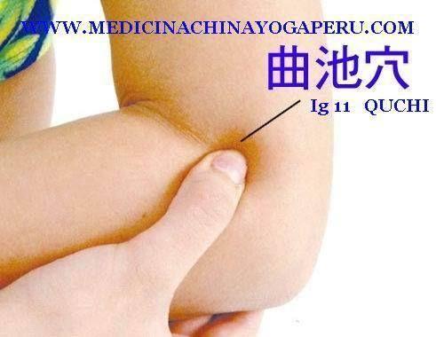 MEDICINA TRADICIONAL CHINA. PUNTO INTESTINO GRUESO 11. Despeja el calor de los pulmones, oidos, espalda, fiebre, etc.