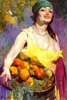 Campesina con bandeja de frutas.  Pintura de Arturo Gordon.
