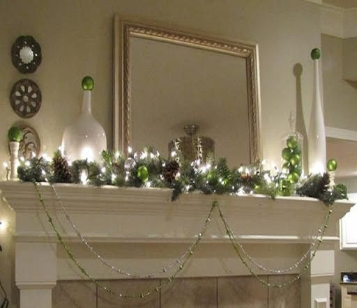 Lime Green and Silver Holiday Fireplace Christmas Lights