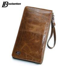 US $23.99 BOSTANTEN New Oil Wax Leather Men Wallets Fashion Male Clutch Purse Long Coin Purse Genuine Leather Card Holder Wallet Wristlet. Aliexpress product