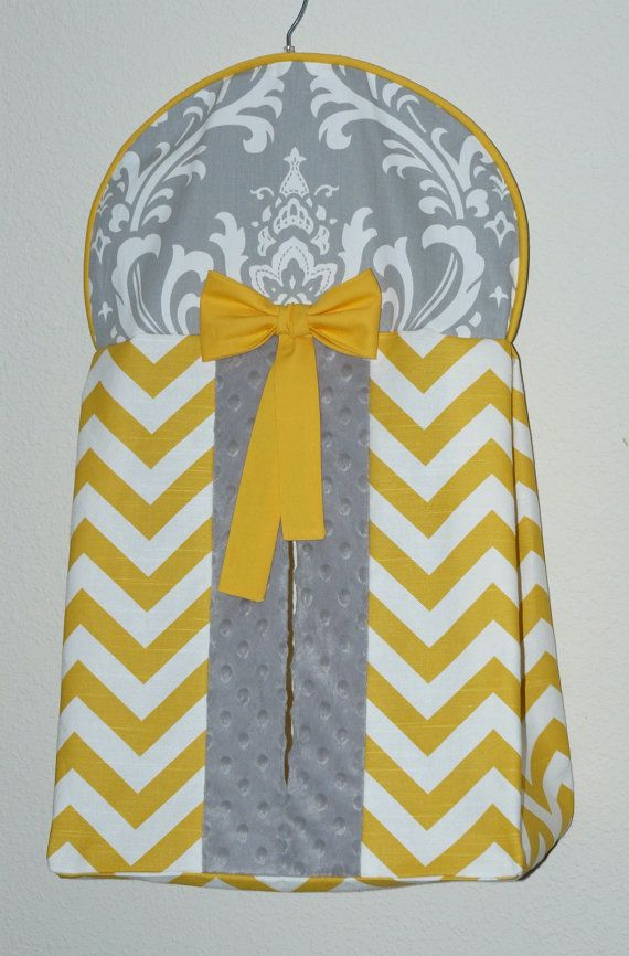 Quality Custom made Diaper Stacker 100% cotton, -yellow chevron, with gray damask, at opening minky( but can be done with solid gray at opening), yellow bow