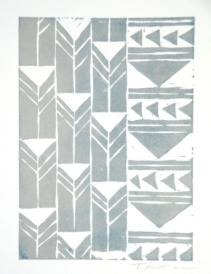Abstract Geometric Tribal Triangles Art Block Print Art