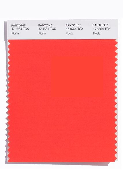 These are the colors to watch for in spring 2016: Fiesta (Pantone 17-1564)  http://www.pantone.com/pages/fcr/?season=spring&year=2016&pid=11
