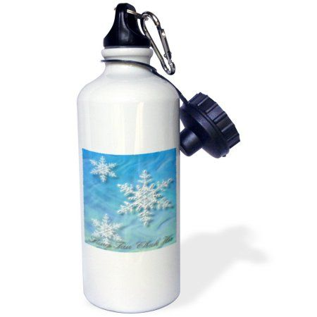 3dRose Sung Tan Chuk Ha, Merry Christmas in Korean, Snowflake , Sports Water Bottle, 21oz, White