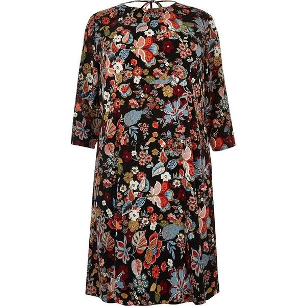 River Island RI Plus red floral print midi dress ($80) ❤ liked on Polyvore featuring dresses, day / t-shirt dresses, red, women, red t shirt dress, long-sleeve midi dresses, plus size floral dresses, plus size dresses and midi dress