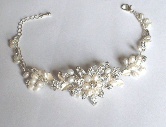 Bridal bracelet. Bridal jewelry. Pearl by ShesAccessories on Etsy