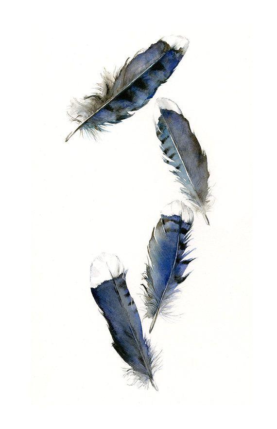 Feder-Malerei Aquarell Federn Feder von amberalexander auf Etsy