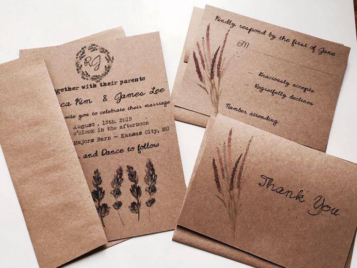 Budget Saving Lavender Wedding Invitation   Boho Wedding   Country Wedding  Invitation   Rustic Wedding Invitation   Brown Kraft