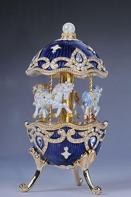Faberge Easter Egg with Horse Carousel Trinket Box by Keren Kopal