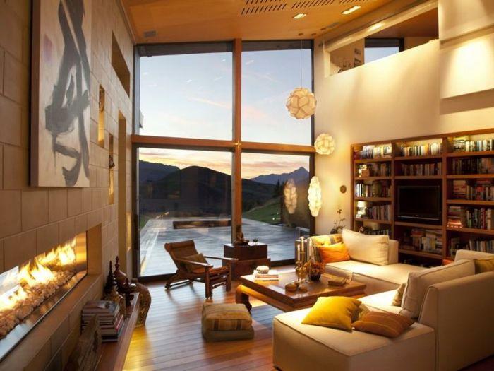 warme beleuchtung - wohnzimmer einrichten ideen Livingroom Ideas - eklektischen stil einfamilienhaus renoviert