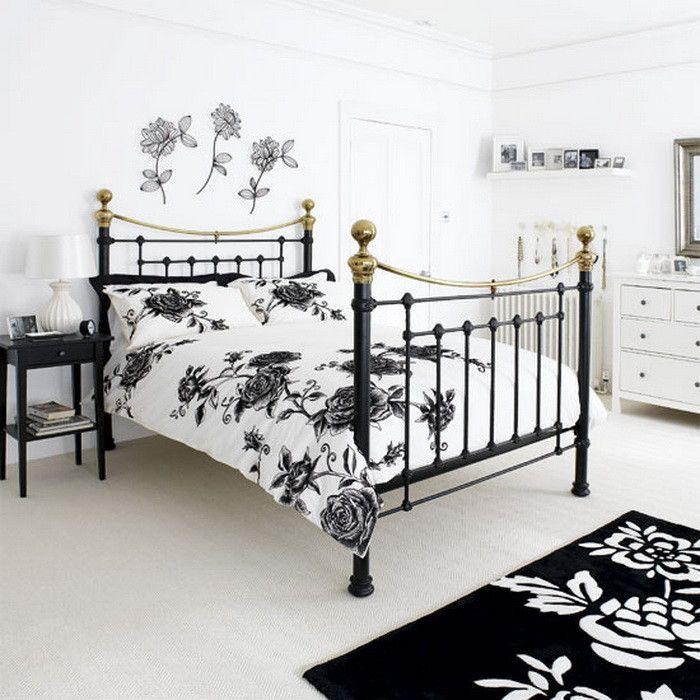 Черно белые спальни