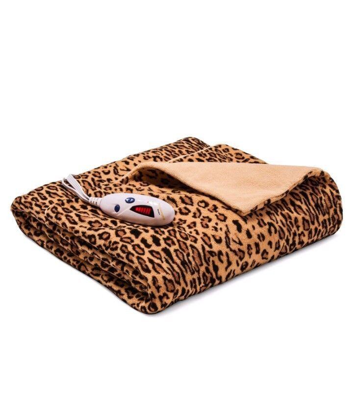 Just $39 bucks NEW Biddeford Heated Electric Throw Blanket Soft Plush Animal Print LEOPARD $80 #Biddeford
