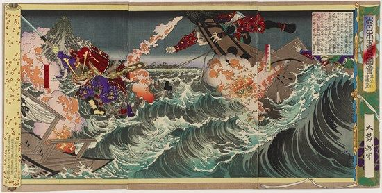 This violent scene is a depiction of the Battle of Dan-no-ura, at which Minamoto no Yoshitsune can be seen on the right jumping from ship to ship in an attempt to evade commander Taira no Noritsune. His maneuvers in the battle brought the Minamoto clan victory and power, especially for his brother Minamoto no Yoritomo, who would lead the family as the first Kamakura Shogunate. -B.Ro