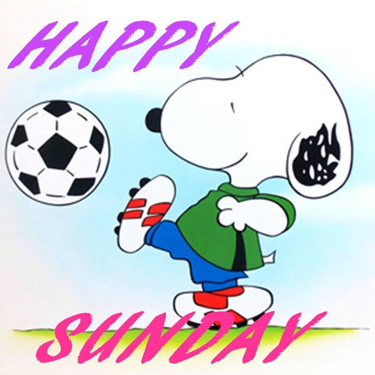 Sunday Night Football Quotes: Happy Sunday - Snoopy Playing Soccer