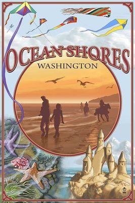Ocean Shores, Washington - Montage - Lantern Press Artwork