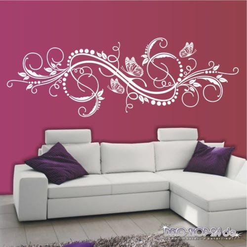 WANDTATTOO-Blumen-Ranke-Ornament-Wohnzimmer-Schmetterlinge-Motiv-627-XL