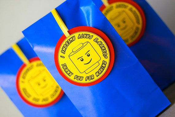 LEGO Inspired Favor / Thank You Tags - Set of 12- Everything is Awesome- Printed -(Bags not included)