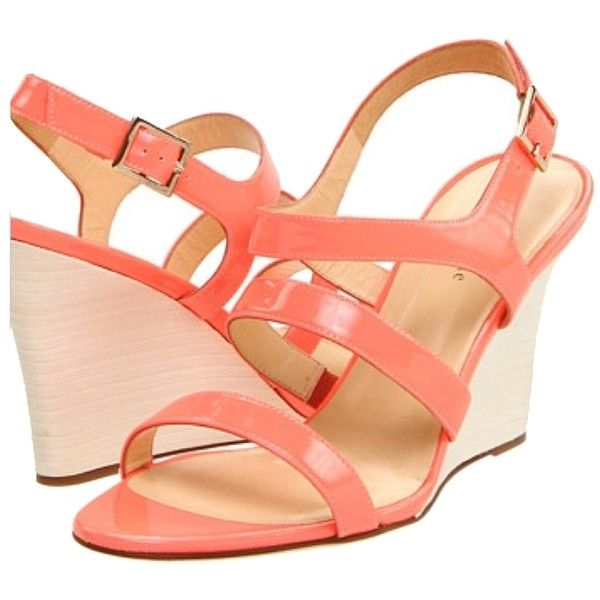 Pre-owned Kate Spade Cindy Hot Coral Wedges ($182) ❤ liked on Polyvore featuring shoes, sandals, hot coral, slingback sandals, coral wedge sandals, kate spade sandals, sling back sandals and slingback shoes