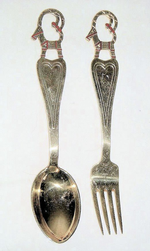 Michelsen Jul 1948 Danish sterling and enamel fork and spoon with the Yule goat.