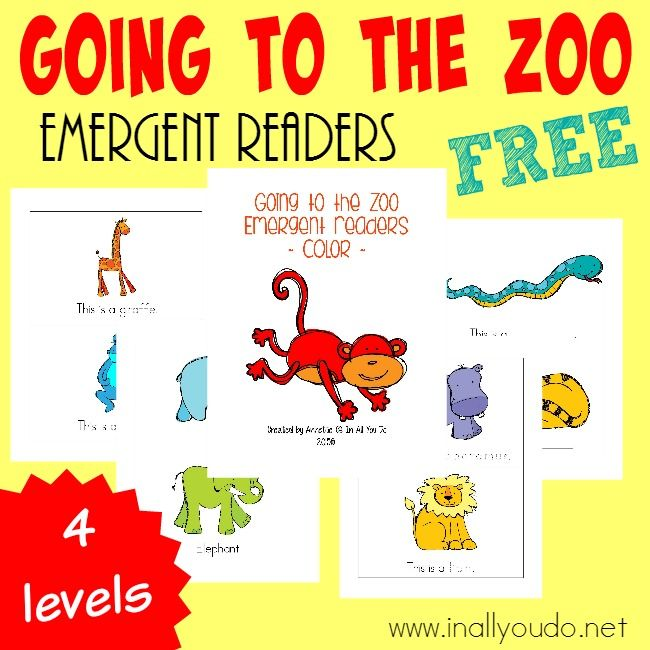 Taking a trip to the Zoo this year? Grab these SUPER CUTE Zoo Animals Emergent Readers for your little ones to practice their reading! 4 different levels :: www.inallyoudo.net