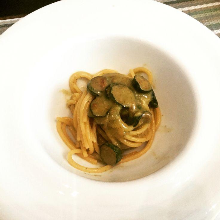 Spaghetti alla Nerano: fried zucchini, provolone, parmigiano and pecorino at Mangiafoglia restaurant, Chiaia Food Tour