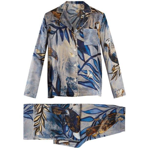 MORPHO + LUNA Ines Reunion-print silk-satin pyjama set ($656) ❤ liked on Polyvore featuring intimates, sleepwear, pajamas, blue multi, blue slip, silk satin slip, long pajamas, blue pajamas and silk satin pajamas