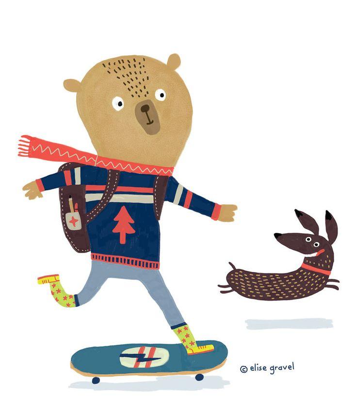 Elise Gravel illustration • bear on a skateboard • wiener dog • cute • art • painting • drawing • fun • friendship •