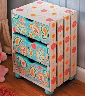 This is very cute also. A wooden crate and three drawers. I love the colors on this.