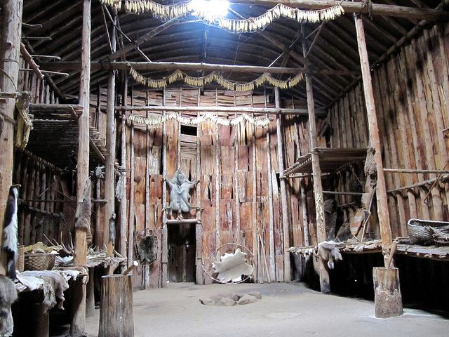 Interior, Turtle Clan Longhouse, Iroquoian Village, Crawford Lake Conservation Area, Milton, Ontario, Canada