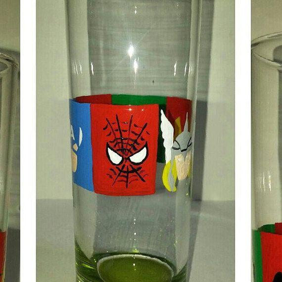 Peint à la main Marvel verre Captain America par ASmudgeOfPaint