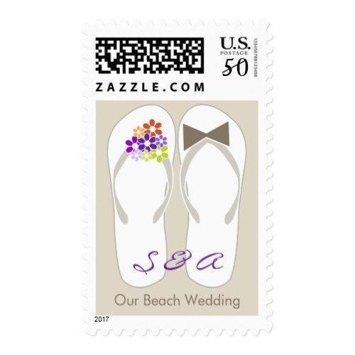 Mr & Mrs Purple Flip Flops Beach Wedding Stamps