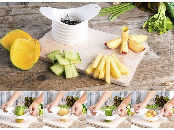 Rosenstein & Söhne 5in1-Obst- und Gemüseschneider mit auswechselbaren Klingen-Einsätzen Rosenstein & Söhne Multifunktions-Apfelteiler und Obst-/Gemüse-Schneider