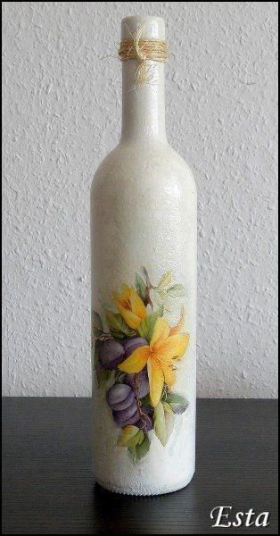 Pracownia Esta decoupage: Wiosenna butelka