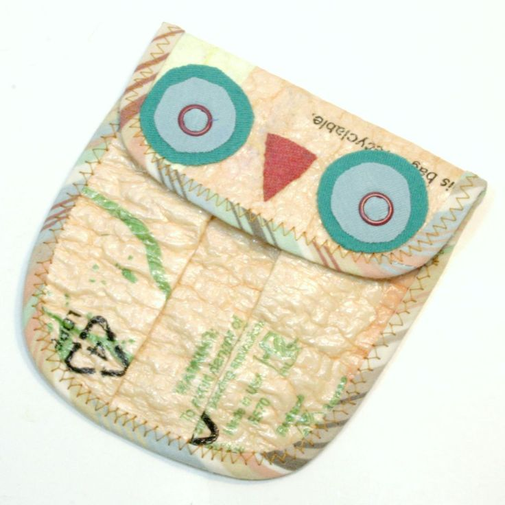 owl coin purse out of fused plastic bags