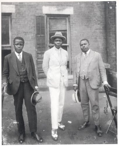 """Marcus Garvey with Prince Kojo Tovalou-Houenou of Dahomey, called the """"Garvey of Africa"""", and George O. Marke. 1924  Part of the set Famous Faces in Black History.   For more on the African American experience visit Discover Black Heritage."""