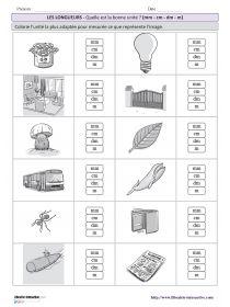 10 fiches simples pour s'entraîner à estimer une longueur en choisissant l'unité la plus adaptée avec plusieurs niveaux de difficulté (CE2 au CM2).