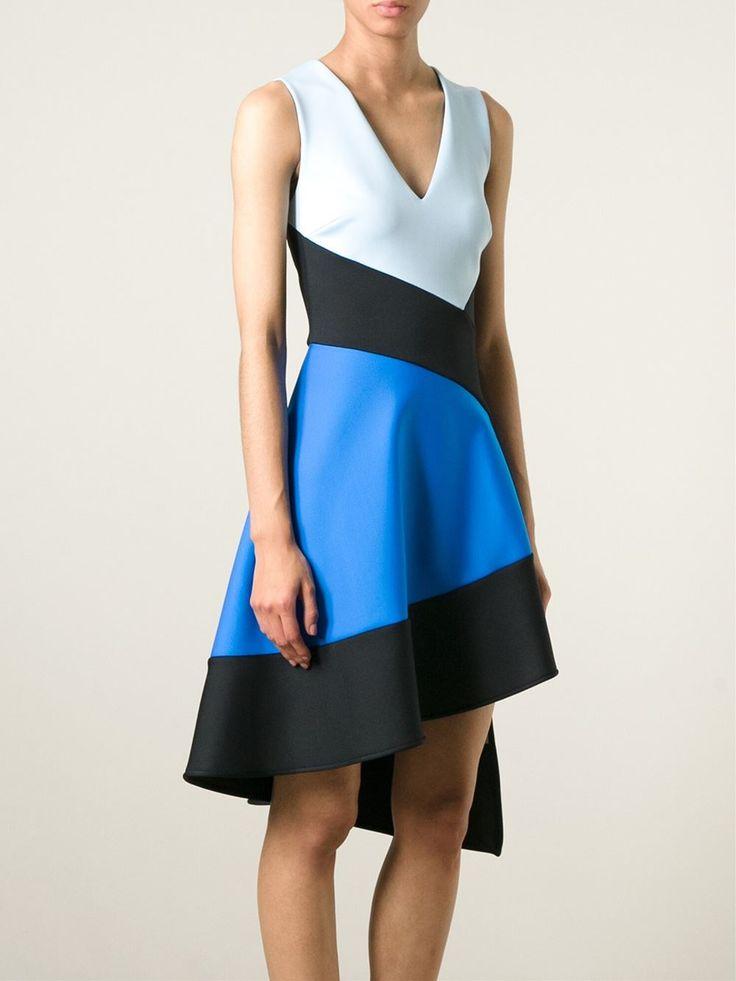 David Koma Asymmetrisches Kleid in Colour-Block-Optik
