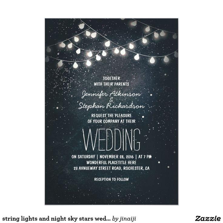 招待を結婚するライトおよび夜空の星をひもでつないで下さい 12.7 X 17.8 インビテーションカード