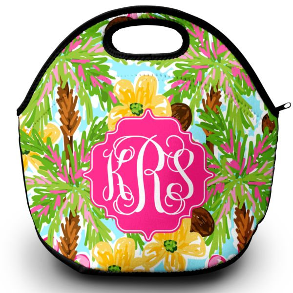 Never hunt for your lunch box again with this colorful and stylish monogrammed lunch tote! Made of neoprene material it features a zippered top with a carry