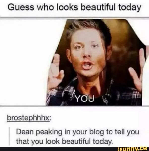 I love how this was originally a picture of Dean barking at the mailman