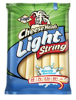 "Frigo CheeseHead Light String Cheese - THM snack friendly! You can eat TWO of these satisfying babies with an ""E"" or ""FP""! Only 2.5 fat grams per stick - yay!!"