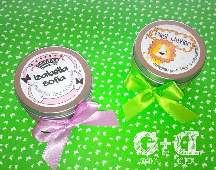 Latas Decoradas con Velas Aromáticas_ Ideales para Recuerdos de #Nacimiento #Bautizo #BabyShower