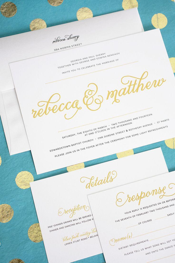 Modern Wedding Invitations in Gold