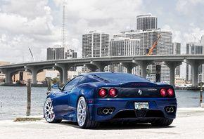 модена, modena, феррари, синий, мост, город, 360, Ferrari, blue