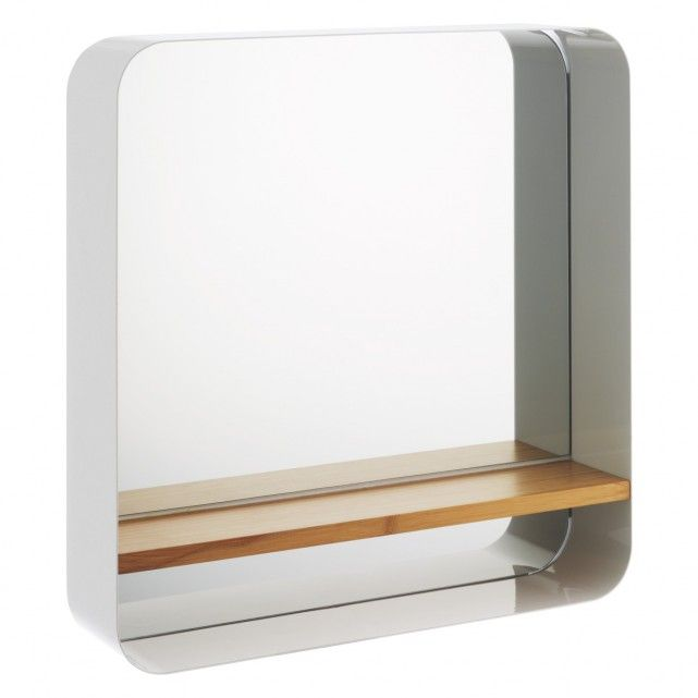 Create Photo Gallery For Website BETHANY White wall mounted mirror with bamboo shelf Buy now at Habitat UK
