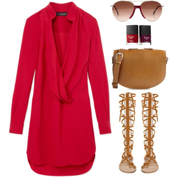 Thakoon red wrap dress by thestyleartisan on Polyvore featuring Thakoon, A.P.C., Smoke & Mirrors, Butter London, women's clothing, women's fashion, women, female, woman and misses