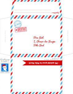 #FaireSaLettreauPèreNoël #Hoptoys #Conseil Enveloppe lettre au pere noel à imprimer