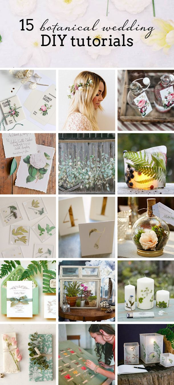 15 Botanical Wedding DIY Tutorials | SouthBound Bride #botanical #wedding #diy // Full image credits & tutorial links here: www.southboundbride.com/botanical-wedding-diy-roundup